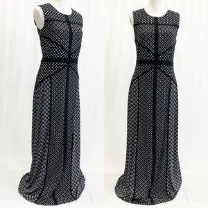 Just...Taylor Black Polka Dot Maxi Gown